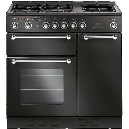 Image for Rangemaster 90UL 90cm Dual Fuel Rangecooker - Black & Chrome from StoreName