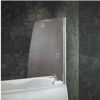 Aqualux Half Framed Sail Bath Screen - Silver & Clear