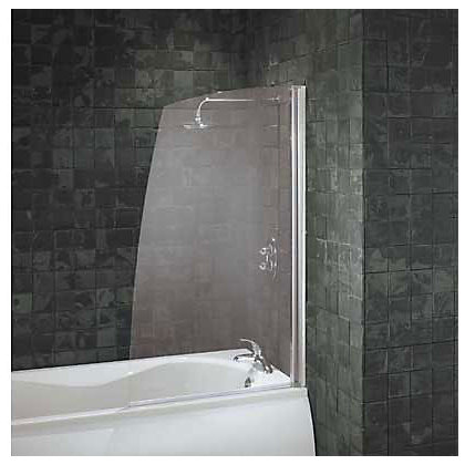 Image for Aqualux Half Framed Sail Bath Screen - Silver & Clear from StoreName