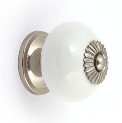 White Ceramic and Silver Effect Ball Cabinet Door Knob