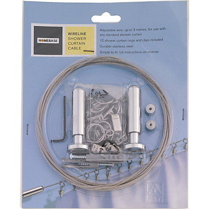 Image for Croydex Croydex Wireline Shower Curtain Rail - Chrome - Up To 300cm from StoreName