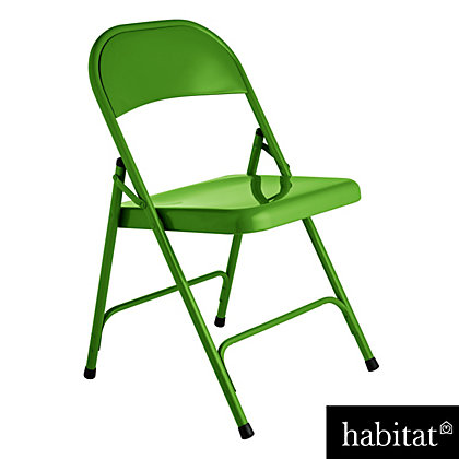 Image for Habitat Macadam Metal Folding Chair - Green from StoreName