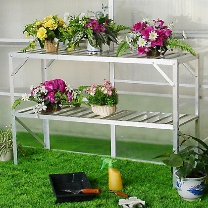 Image for Nison 2 Tier Silver Greenhouse Staging - 3ft 9in x 1ft 7in from StoreName