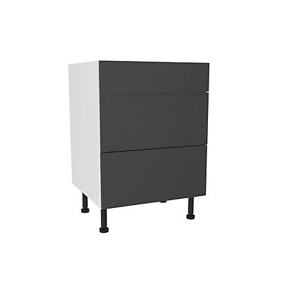 Image for Simply Hygena Chancery Grey 3 Drawer Base Unit - 600mm (Premium) from StoreName