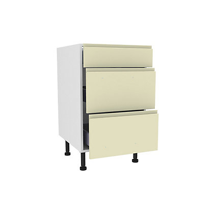 Image for Simply Hygena Kensal - Cream - 500mm Premium 3 Drawer Base Unit from StoreName