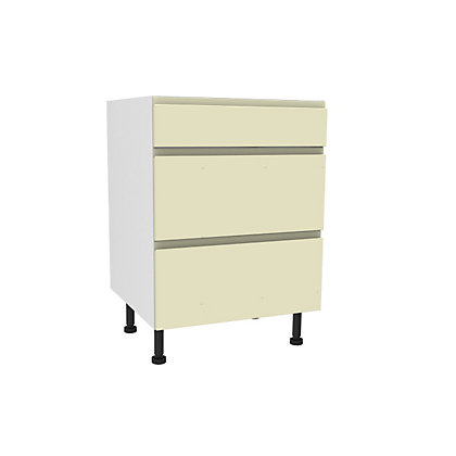 Image for Simply Hygena Kensal - Cream - 600mm Premium 3 Drawer Base Unit from StoreName