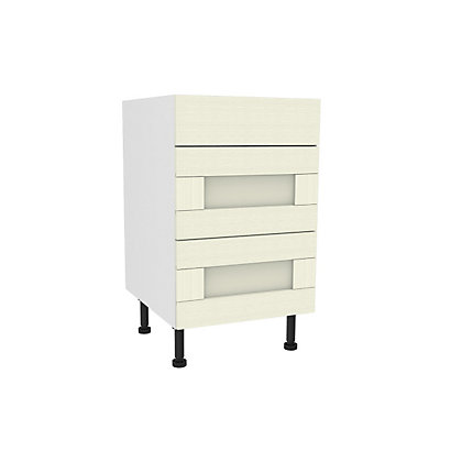 Image for Simply Hygena Southfield - Ivory - 500mm Premium 3 Drawer Base Unit from StoreName