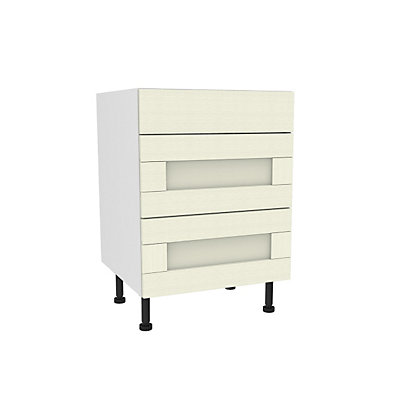 Image for Simply Hygena Southfield - Ivory - 600mm Premium 3 Drawer Base Unit from StoreName