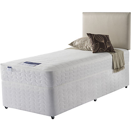 Silentnight miracoil white non storage single divan for White single divan