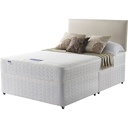 Silentnight miracoil white non storage divan small for Cheap small double divan beds with storage