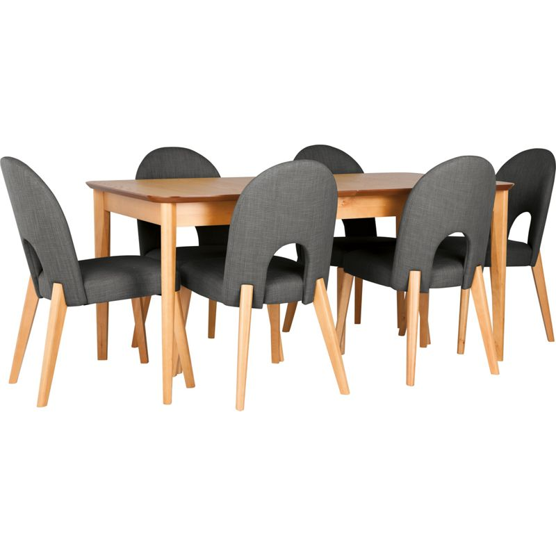 hygena emmett oak dining table and 6 charcoal chairs