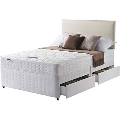 Silentnight miracoil white 4 drawer king size divan for Cheap king size divan beds with storage