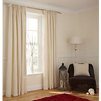 Value Cream Pencil Pleat Curtains - 66 x 72in