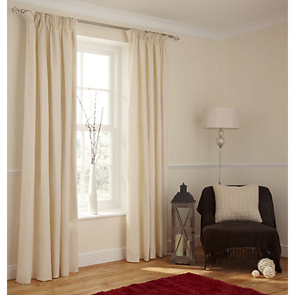 Image for Value Cream Pencil Pleat Curtains - 66 x 72in from StoreName