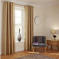 Home of Style Faux  Silk Curtains - Gold - 66 x 54in