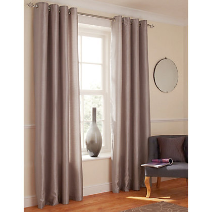 Image for Faux Silk Eyelet Curtains - Mink 66 x 54in from StoreName
