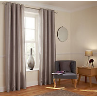 Home of Style Faux Silk Eyelet Curtains - Mink 66 x 90in