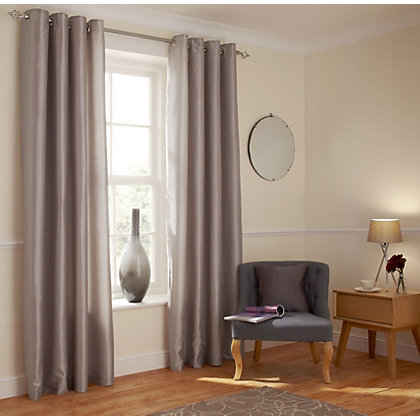 Image for Home of Style Faux Silk Eyelet Curtains - Mink 66 x 90in from StoreName