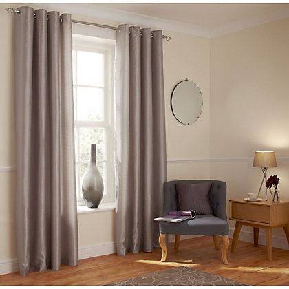 Image for Home of Style Faux Silk Eyelet Curtains - Mink 90 x 90in from StoreName
