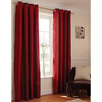 Home of Style Faux Silk Eyelet Curtains - Red 66 x 54in