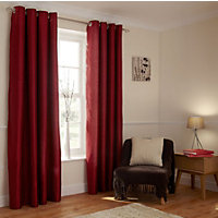Home of Style Faux Silk Eyelet Curtains - Red 66 x 90in