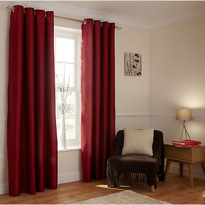 Image for Home of Style Faux Silk Eyelet Curtains - Red 90 x 90in from StoreName