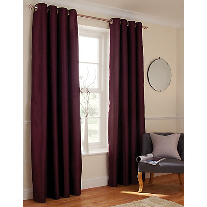Image for Home of Style Faux Silk Eyelet Curtains - Plum 66 x 54in from StoreName