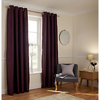 Home of Style Faux Silk Eyelet Curtains - Plum 66 x 72in