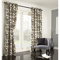 Home of Style Sholly Floral Black Curtains - 66 x 90in