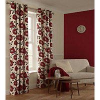 Home of Style Sholly Floral Red Curtains - 66 x 72in