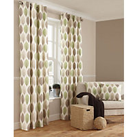 Home of Style Shoula Leaf Green Curtains - 66 x 54in