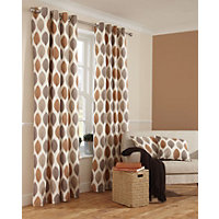 Home of Style Shoula Leaf Terracotta Curtains - 66 x 72in