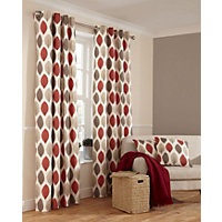 Home of Style Shoula Leaf Red Curtains - 66 x 54in