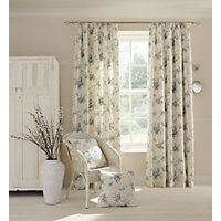 Home of Style Rose Floral Duck Egg Curtains - 66 x 54in