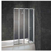 Aqualux Folding Four Panel Shower Screen - Silver & Clear