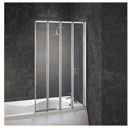 Image for Aqualux Folding Four Panel Shower Screen - Silver & Clear from StoreName