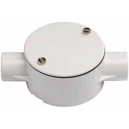 Image for Schneider ISM80012 Electric Round Conduit 2 Way Through Box - White - 20mm from StoreName