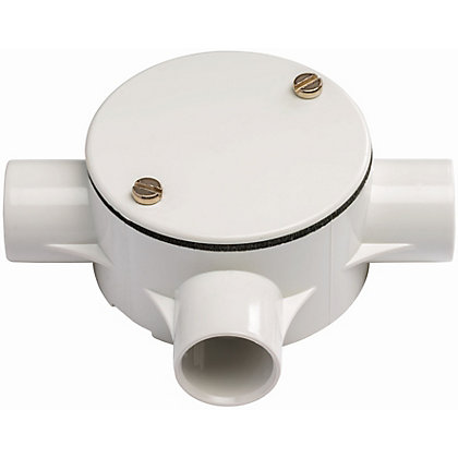 Image for Schneider ISM80016 Electric Round Conduit 3 Way Tee Box - White - 20mm from StoreName