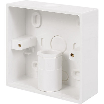 Image for Schneider INS20151 Electric Mini Trunking 1 Gang Surface Box With Knockouts - White - 32mm from StoreName