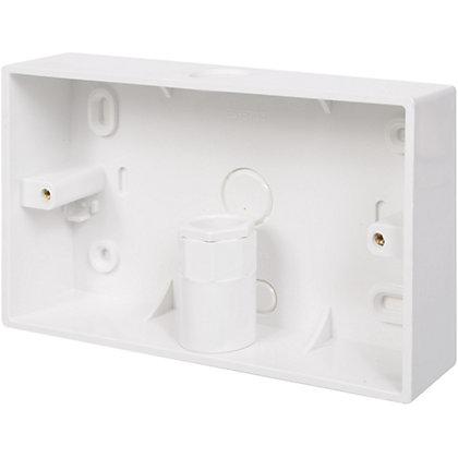 Image for Schneider INS20152 Electric Mini Trunking 2 Gang Surface Box With Knockouts - White - 32mm from StoreName