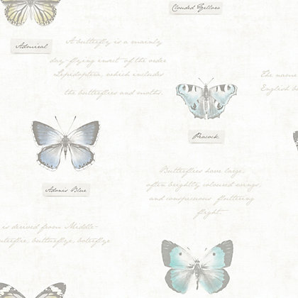 Image for Fine Decor Butterfly Wallpaper - Soft Blue from StoreName