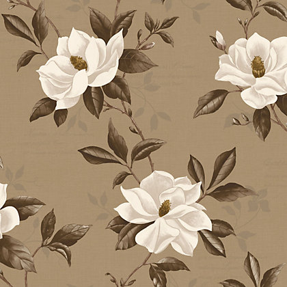 Image for Fine Decor Magnolia Wallpaper - Chocolate and Gold from StoreName