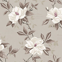 Fine Decor Magnolia Wallpaper - Stone