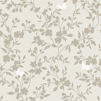 Image for Fine Decor Saskia Wallpaper - Soft Grey from StoreName