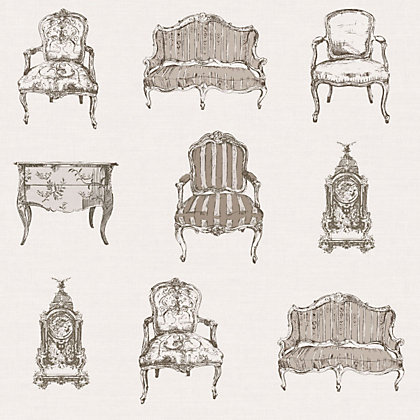 Image for Gran Deco French Chairs Wallpaper - Neutral from StoreName