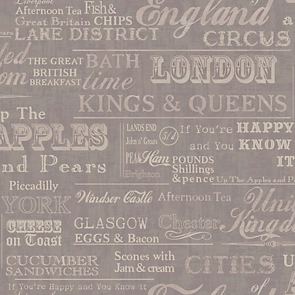 Image for Gran Deco Very British Grey Wallpaper from StoreName
