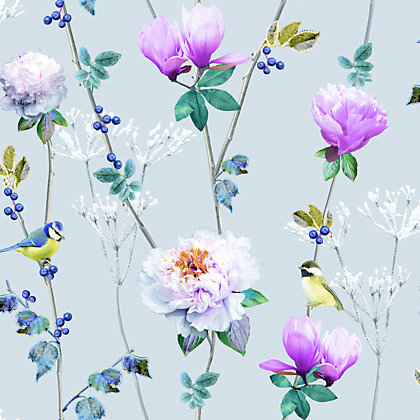 Image for Ella Silver Floral Wallpaper from StoreName