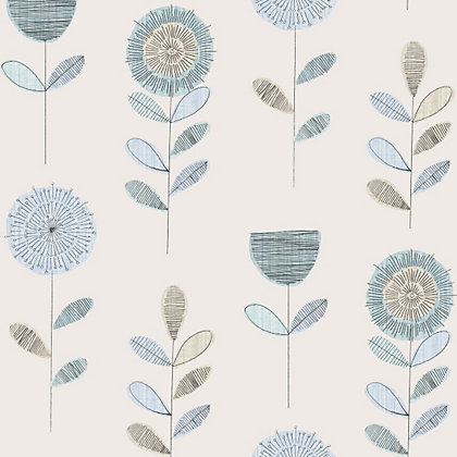 Image for Fresco Sketch Floral Wallpaper - Duck Egg from StoreName