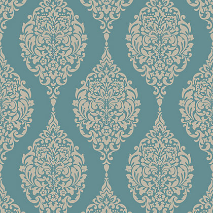 Image for Home of Colour Damask Stripe Wallpaper - Teal from StoreName