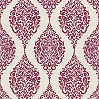 Home of Colour Damask Stripe Wallpaper - Red and White
